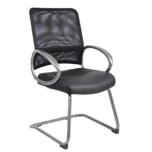 Boss CaressoftPlus™ Boss Mesh Back W/ Pewter Finish Guest Chair - Best Office Chair Without Wheels: Breathable Mesh Back