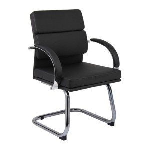 Boss CaressoftPlus™ Executive Mid Back CaressoftPlus Chair - Best Office Chair Without Wheels: Black CaressoftPlus Upholstery Cover