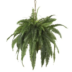 Nearly Natural Artificial Large Boston Fern Hanging Basket - Best Artificial Plants for Outdoors: Pretty Stems and Leaves