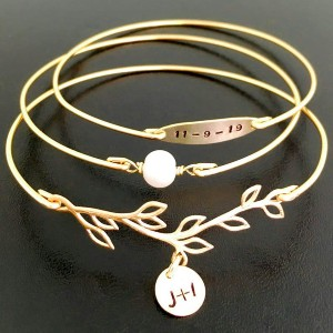 Frosted Willow Bracelet For Bride - Best Jewelry for Bride:  Add your initials and wedding date