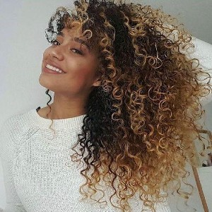 Lux Hair Brazilian Hair Natural Color Mix Blond Curly Full Lace Wig - Best Human Hair Wigs for African American: Natural Color Mix Blond
