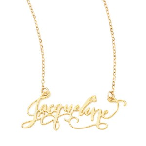 Brevity Personalized Gold-Plate Calligraphy Necklace - Best Nameplate Necklace: Unique Letters Pendant Necklace