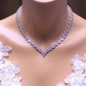 Design By Kara Marquise Collar V Shape Tennis Necklace - Best Necklace for V Neck Dress: Nickel and lead-free