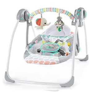 Bright Starts Automatic Swing with Melodies  - Best Baby Swings for Small Spaces: Provides two-step recline