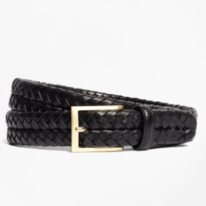 Brooks Brother Leather Braided Belt  - Best Women's Leather Belts for Jeans: Braided Leather Belt