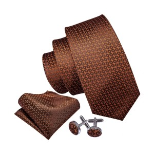 Barry Wang Brown Floral Necktie Pocket Square Cufflinks Set - Best Tie for Brown Suit: A complete package
