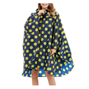 Buauty Womens Hooded Zip Up - Best Raincoats for Women: The Lightweight Poncho with Lively Pattern