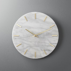 CB2 CARLO MARBLE AND BRASS WALL CLOCK - Best Wall Clock for Living Room: Wipe with A Clean and Soft Cloth