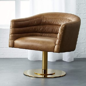 CB2 CUPA SADDLE LEATHER SWIVEL BASE CHAIR - Best Leather Armchair: Luxurious Swivel Base