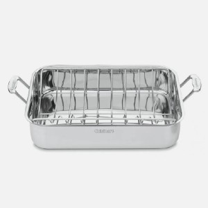 Cuisinart CHEF'S CLASSIC - Best Roasting Pan for Vegetables: Professional Stainless Exterior