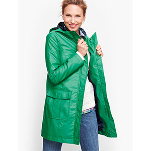Talbots CLASSIC HOODED RAIN JACKET - Best Raincoats for Petites: Zip Front Closure with Snap Placket