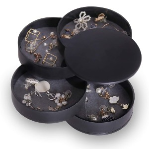 CONBOLA Small Jewelry Storage Box - Best Jewelry Boxes for Earrings: Rotating Jewelry Organizer