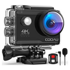 COOAU 4K  - Best GoPro for Motorcycle: Built-in and External Microphone