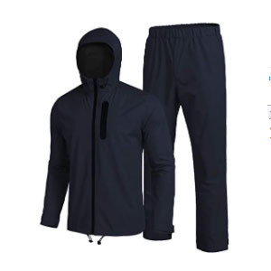 COOFANDY Waterproof Rain Suit With Hood 2 Pieces  - Best Raincoats Under $100: Camping when It Is Raining? Yass!