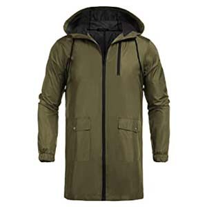 COOFANDY Men's Waterproof Hooded Rain Jacket - Best Raincoats for Summer: Lightweight and keeps you warm
