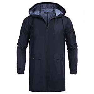 COOFANDY Men's Waterproof Hooded Rain Jacket - Best Raincoats with a Suit: Lightweight and keeps you warm