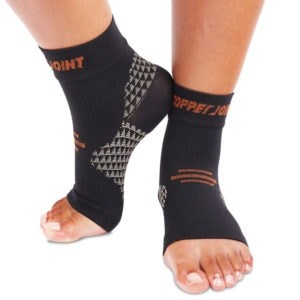CopperJoint Copper Compression Foot Sleeves - Best Compression Sock for Plantar Fasciitis: Anti-Microbial Protection