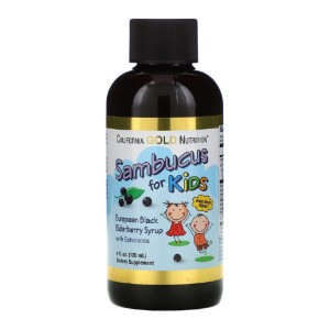 California Gold Nutrition Sambucus for Kids - Best Elderberry Syrup for Kids: Syrup with Great Berry Flavor