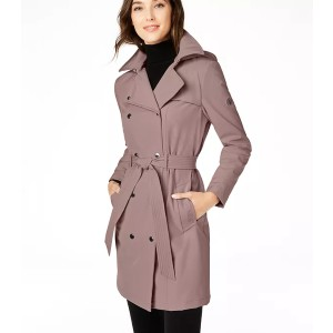 Calvin Klein Hooded Double-Breasted Water-Resistant Trench Coat - Best Trench Coats for Petites: Water Resistant and Belted Style
