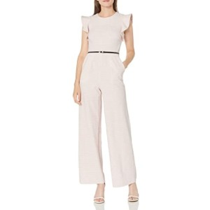 Calvin Klein Women's Belted Jumpsuit with Flutter Sleeves  - Best Jumpsuits for Petites: Best for formal look