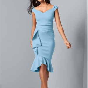 Venus Cap Sleeve Ruffle Detail Dress - Best Dress for Hourglass Shape: Exposed Zipper Closure at Back