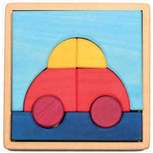 The Wooden Wagon Car Puzzle (Grimm's) - Best Wooden Puzzles for Toddlers: Comes in a Wooden Storage Tray