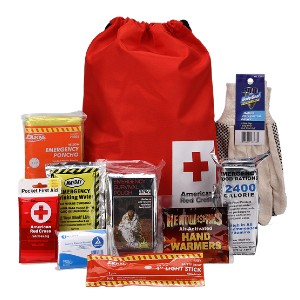 American Red Cross Car Survival Kit with Winter Supplies - Best Emergency Kits for Cars: Pocket First-Aid Kit and A Rain Poncho