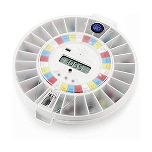 Careousel  Automatic Pill Dispenser with Transparent Lid - Best Pill Boxes with Alarm: Anti-microbial Material Pill Box
