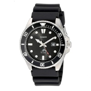 Casio Black Analog Anti Reverse Bezel Watch - Best Waterproof Watches: Black Stainless Steel Case and Resin Band