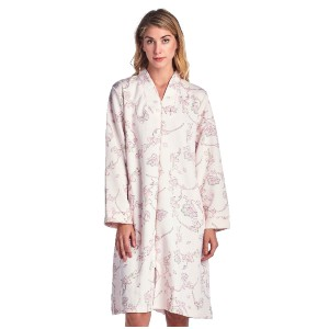Casual Nights Women's Floral Print Zipper Front Quilted Robe - Best Robes for New Mom: Lightweight Zip Up Robe