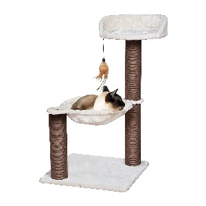 Catry Cat Tree with Feather Toy  - Best Cat Tree for Apartment: Simple Cat Tree