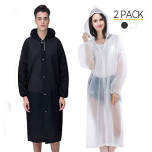 Cayenne Reusable Rain Poncho (2 PACK) - Best Raincoats for Hot Weather: Practical rain poncho