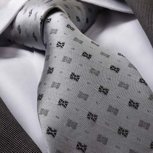 gent.one Celino Metalic Silver Grey Black Designs Neck Tie - Best Ties for Black Shirts: For gentleman of any age