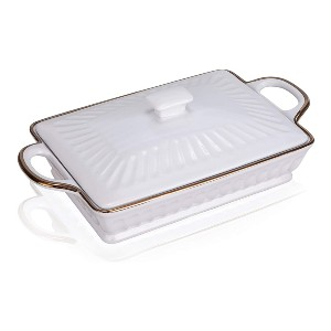 JH JIEMEI HOME Ceramic Casserole Dish - Best Ceramic Baking Dishes: Dustproof and Keeps The Food Warm In A Long Time
