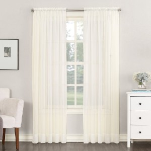 Charlton Home® Emily Solid Color Sheer Rod Pocket Curtains - Best Curtains for Sliding Glass Doors: Elegant Curtain