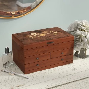 Charlton Home® Wooden Jewelry Box - Best Jewelry Boxes for Necklaces: Classic Design Jewelry Box