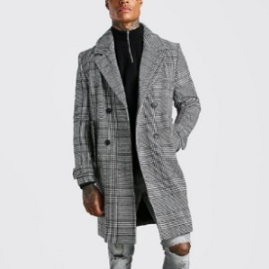 Boohoo Check Double Breasted Wool Mix Overcoat - Best Party Dress for Man: Stylish with classic twist