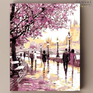 Canvas by Numbers Cherry Blossom Promenade - Best Paint by Number Kits for Adults: Dreamy Painting with Romantic Touch