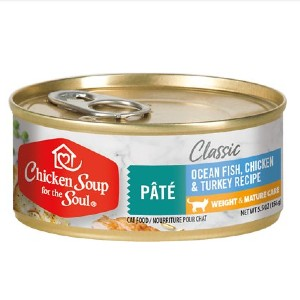 Chicken Soup for the Soul Weight & Mature Care Ocean Fish, Chicken & Turkey Recipe Pate Canned Cat Food - Best Food for Old Cat: Plant-Based Nutrients Formulation