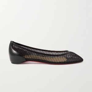 Christian Louboutin Filomena mesh and leather point-toe flats - Best Flats for Standing All Day: Flat with Slight Heel