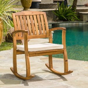Christopher Knight Home Selma Acacia Rocking Chair with Cushion - Best Rocking Lawn Chair: Elegant Outdoor Rocker