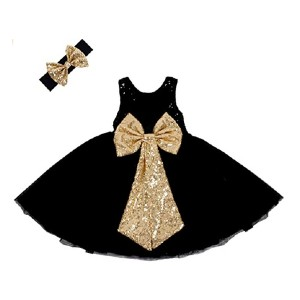 Cilucu Flower Girl Dress  - Best Party Wear Dress for Baby Girl: Sparkling back bow