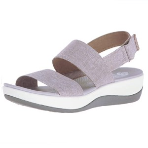 Clarks Women's Arla Jacory Wedge Sandal - Best Sandals for Wide Feet: Textile Wedge Sandal