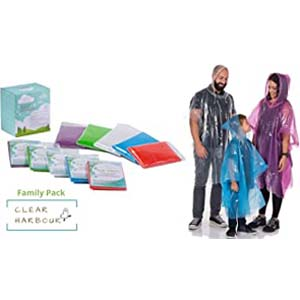 Clear Harbour  Emergency Disposable Poncho Family Pack - Best Raincoats for Disney: Be like a family goal