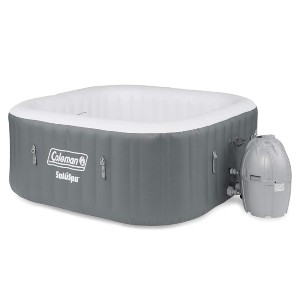 Coleman SaluSpa 4 Person Portable Inflatable Outdoor Square Hot Tub Spa - Best Hot Tub for Cold Climates: Hot Tub with Cushioned Floor