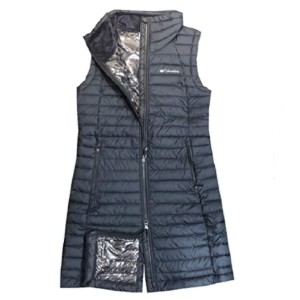 Columbia Women's White Out Long Puffer Omni Heat Full Zip Insulated Vest - Best Vests for Hiking: Water-Resistant Long Vest