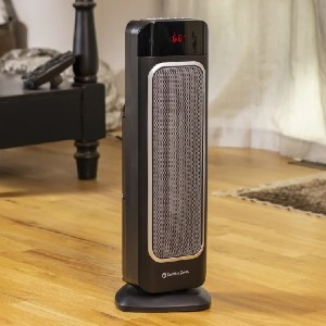Comfort Zone 1,500 Watt Electric Fan Tower Heater with Remote - Best Energy Efficient Space Heaters: Large digital temperature display