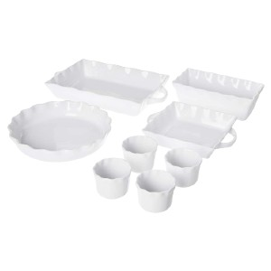 Cook Pro White Ceramic Ruffled Bakeware - Best Ceramic Baking Dishes: Made From Lead-Free Material