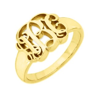 Yafeini Personalized Script Monogram Signet Ring - Best Jewelry for Plus Size: Best for large fingers