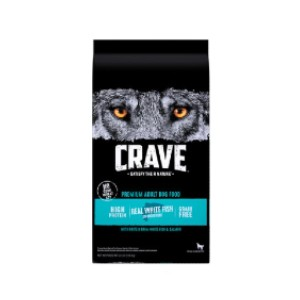 Crave High Protein White Fish & Salmon Adult Grain-Free Dry Dog Food - Best Dog Foods to Gain Weight: No Chicken Ingredients